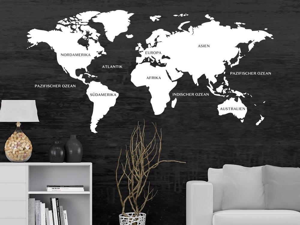Weltkarte als Wandtattoo im Wohnzimmer