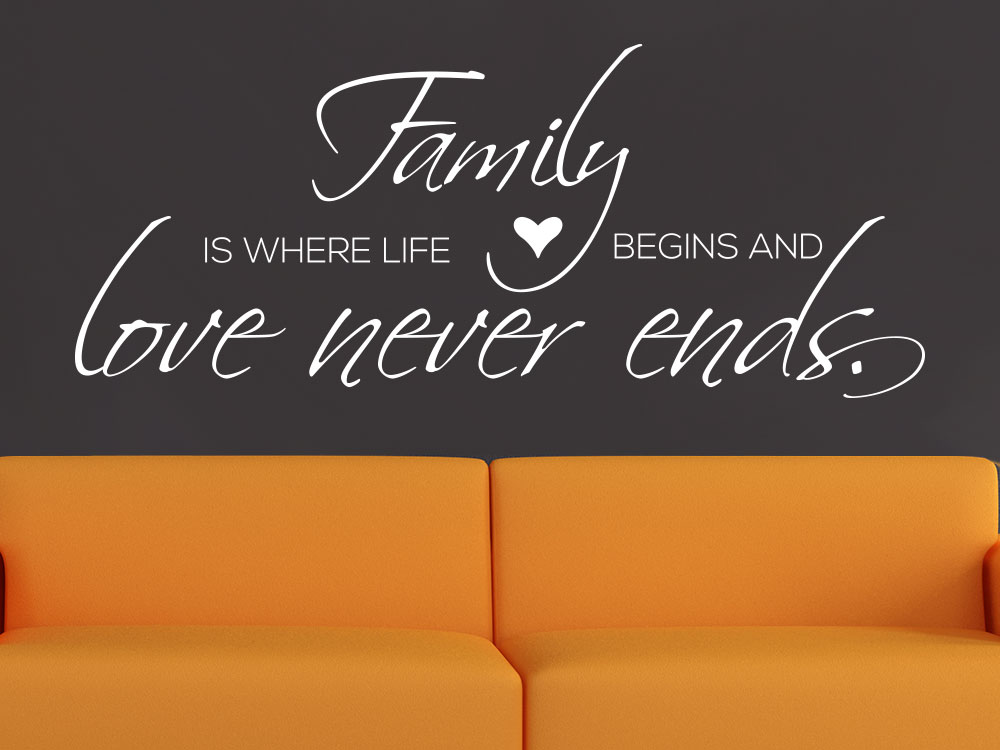Wandtattoo Spruch Family - Love never ends