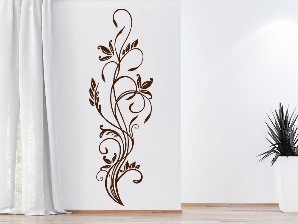 Wandtattoo Florales Zierornament in Braun