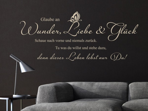 wandtattoo spr che gl ck tolle sprichw rter zum. Black Bedroom Furniture Sets. Home Design Ideas