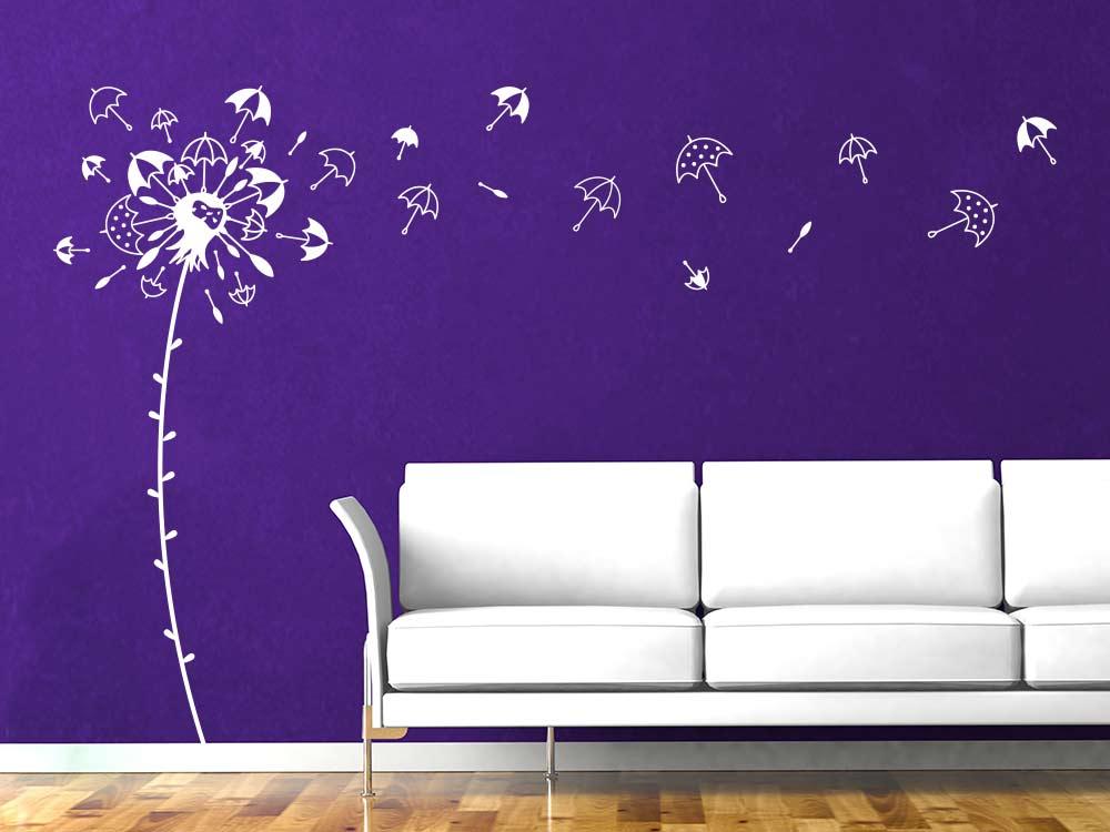 Wandtattoo Regenschirm Pusteblume neben Sofa