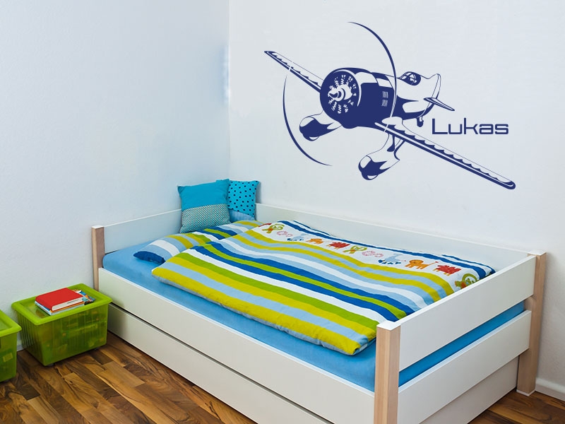 wandtattoo kinderzimmer wandtattoo flieger mit wunschname. Black Bedroom Furniture Sets. Home Design Ideas