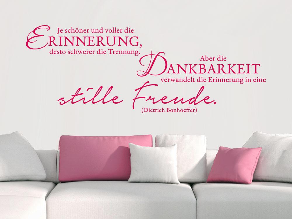 Wandtattoo Je schöner und voller die Erinnerung Farbe pink