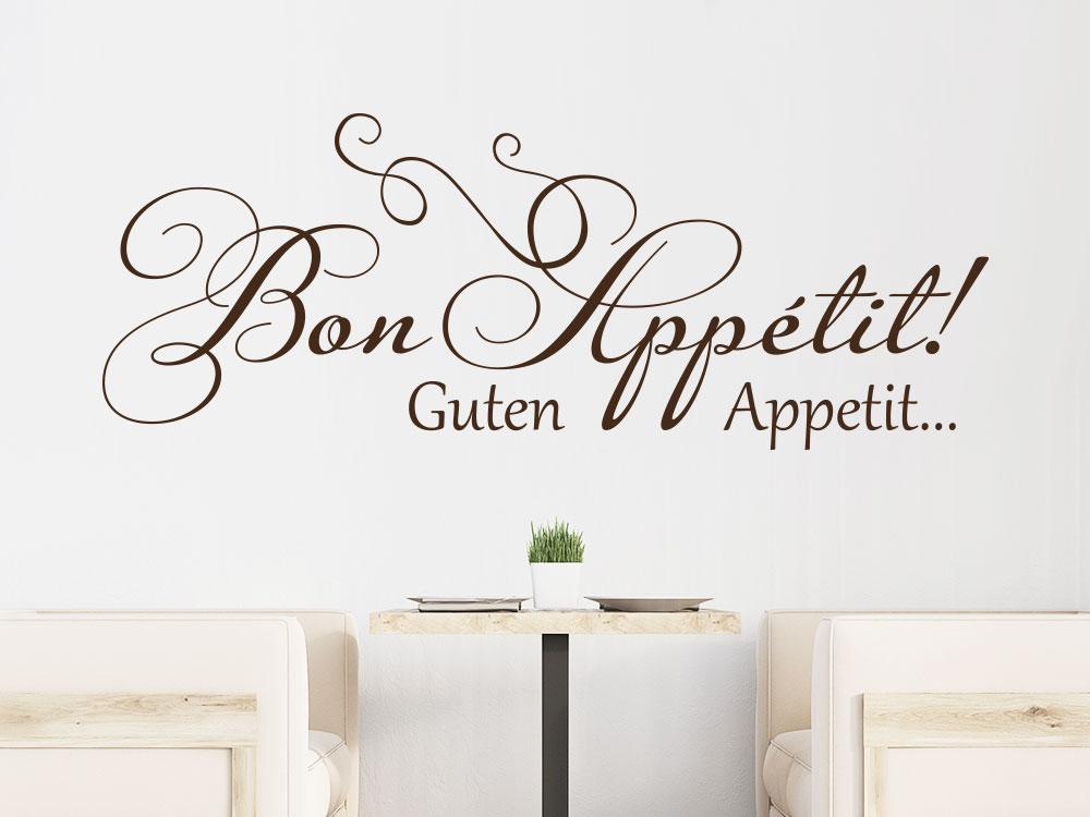 Wandtattoo verschnörkeltes Bon appétit im Esszimmer in der Farbe Braun.