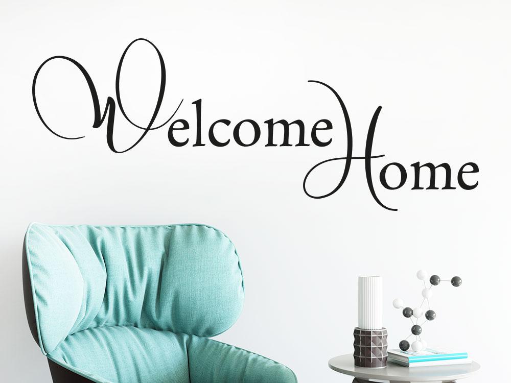 Wandtattoo Elegantes Welcome Home auf heller Wandfläche im Flur