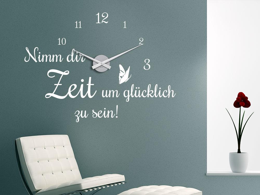 Wandtattoo Uhr Nimm dir Zeit um glücklich zu sein Wandspruch im Flur