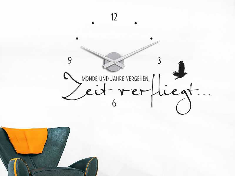wandtattoo uhr zeit verfliegt wanduhr von klebeheld de. Black Bedroom Furniture Sets. Home Design Ideas