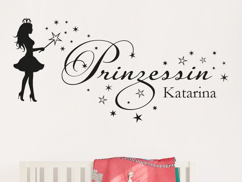 Wandtattoo Prinzessin mit Name Kinderzimmer