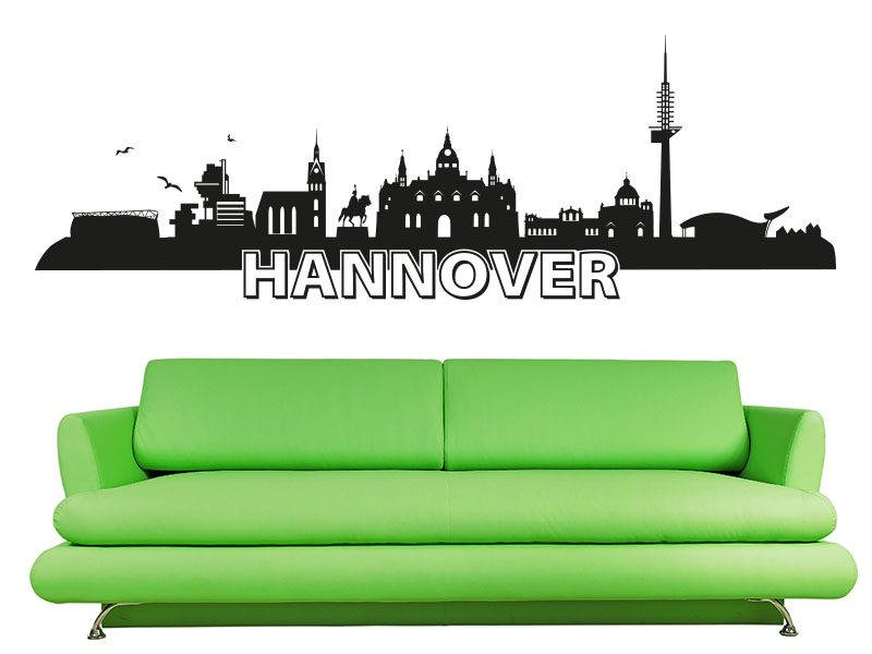 Wandtattoo Skyline Hannover - über Sofa