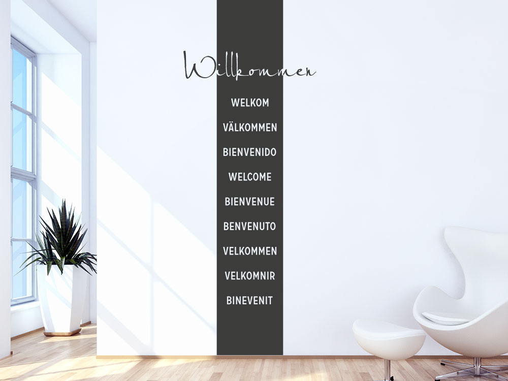 Banner Willkommen Wandtattoo Sprachen im Flur