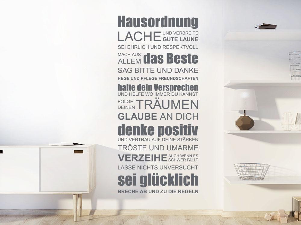 Wandtattoo Hausordnung Schriften Spruchband im Wohnzimmer