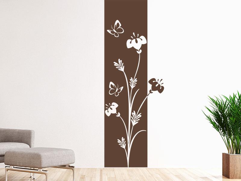 wandtattoo wandbanner mit blumen und pflanzen klebeheld. Black Bedroom Furniture Sets. Home Design Ideas