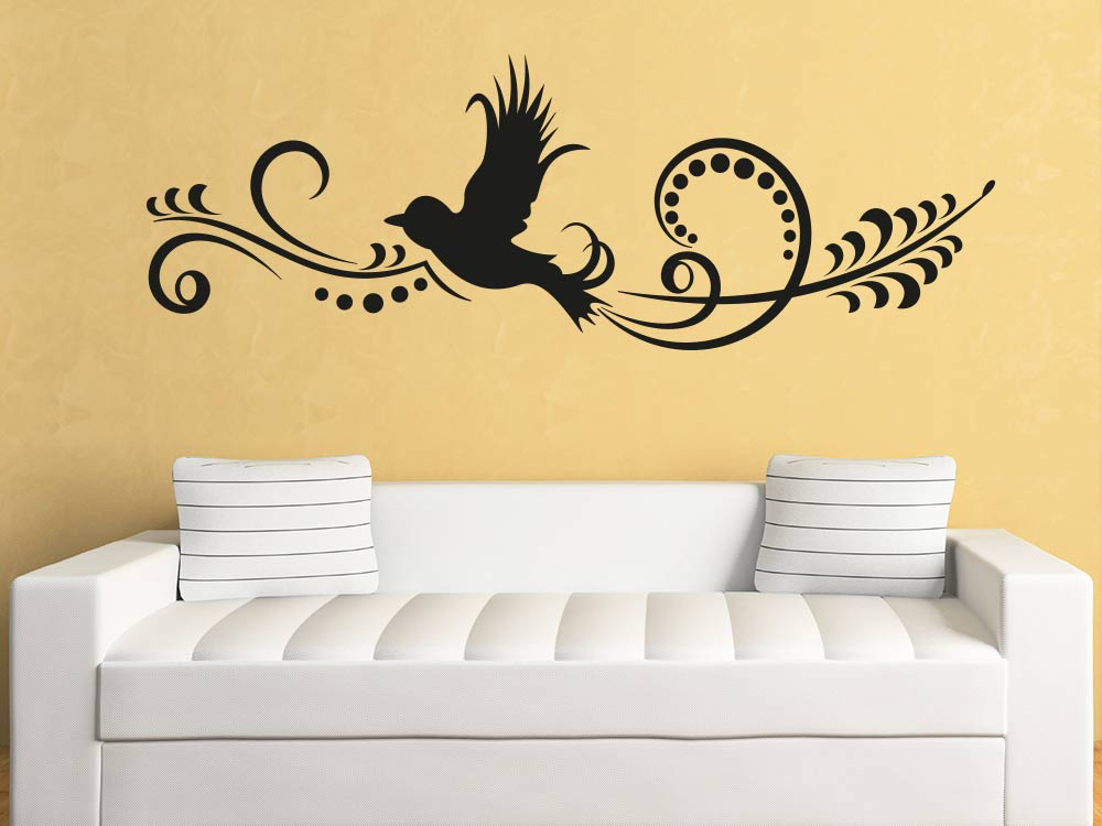 wandtattoo vogel ornament von klebeheld de. Black Bedroom Furniture Sets. Home Design Ideas