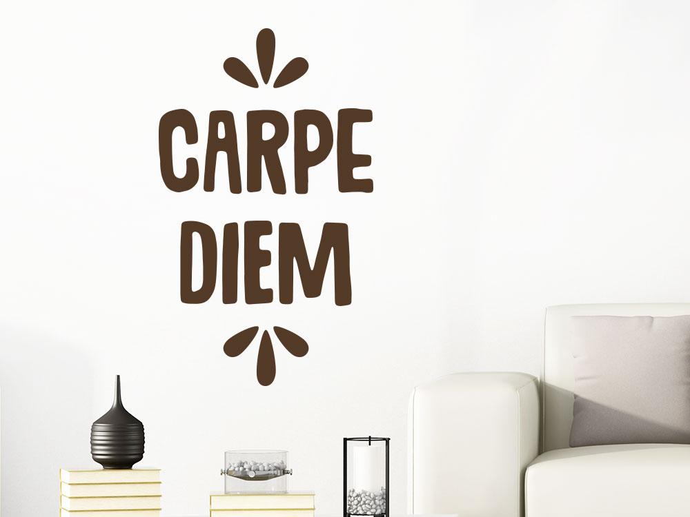 Wandspruch Carpe Diem Wandtattoo im Wohnzimmer