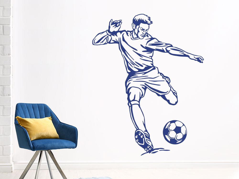 Fußballer Wandtattoo mit Ball