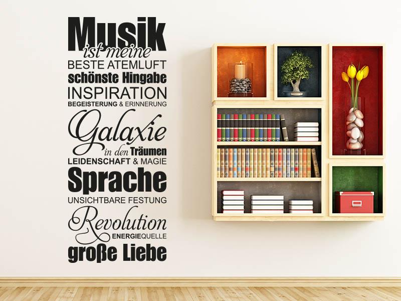 Wandtattoo Musikspruch Musik ist meine große Liebe