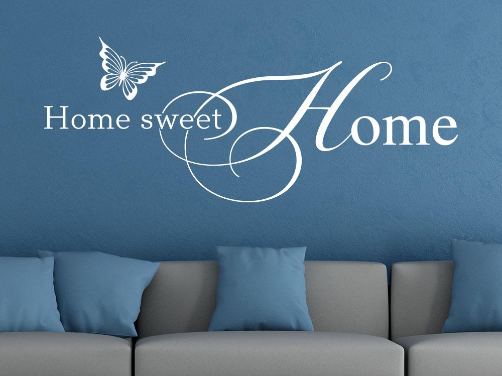 Wandtattoo Home Sweet Home No.3 auf einer blauen Wand
