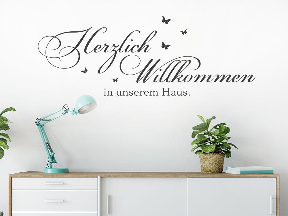 Wandtattoo Herzlich Willkommen in unserem Haus No.2