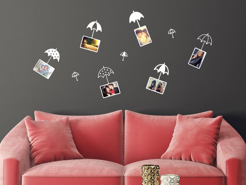 Wandtattoo Zusatzrahmen Set Fotorahmen Pusteblume Regenschirme