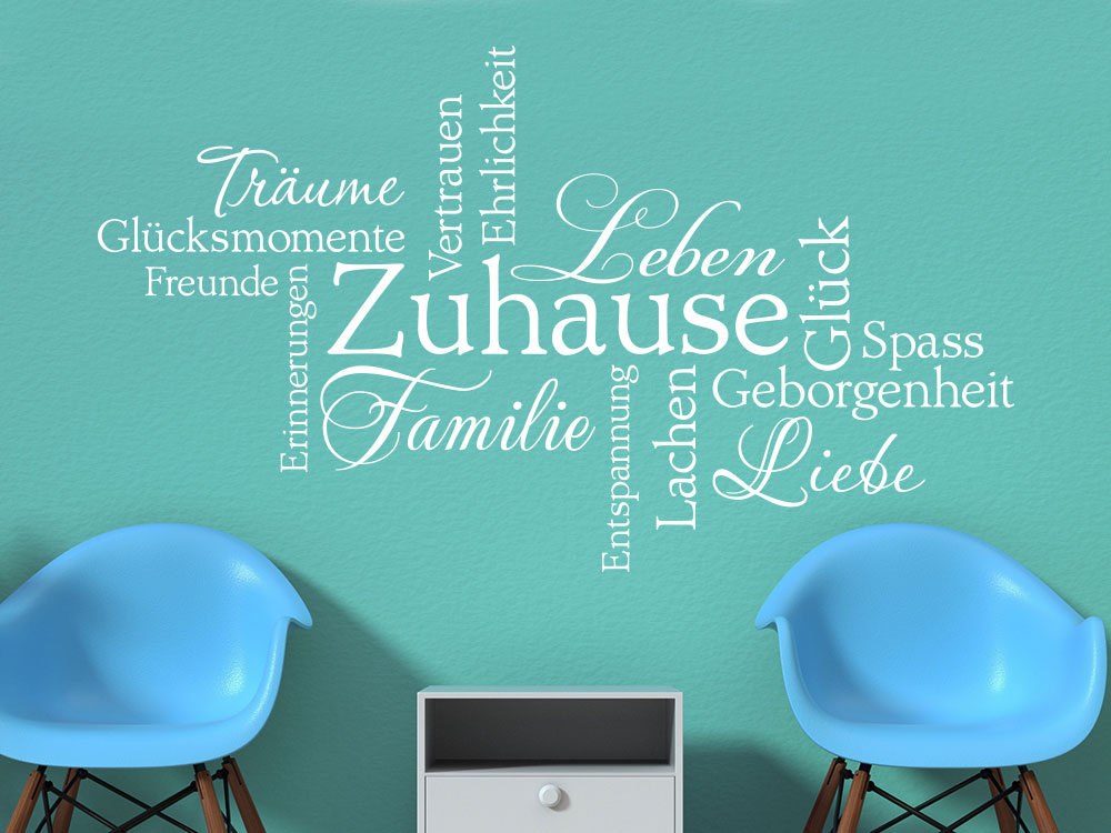 Familie Wandtattoo Wortwolke in Farbe Weiß auf Flurwand
