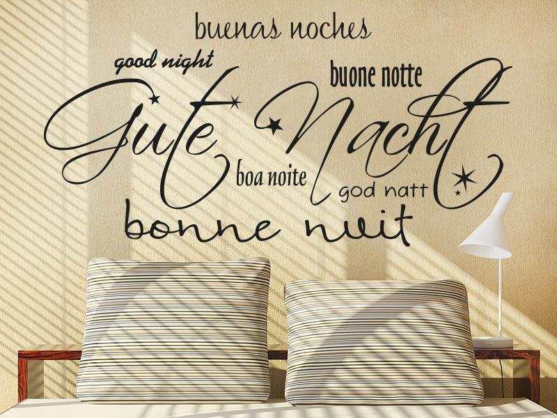 wandtattoo gute nacht in 7 verschiedenen sprachen von. Black Bedroom Furniture Sets. Home Design Ideas