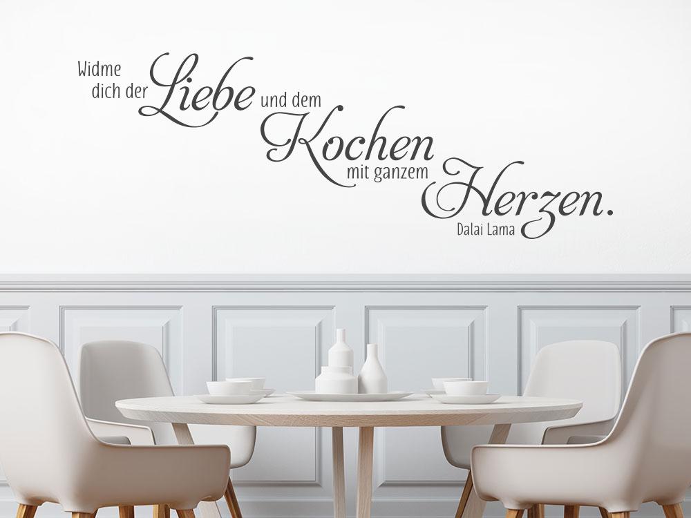 Wandtattoo Widme dich der Liebe und dem Kochen auf heller Wand