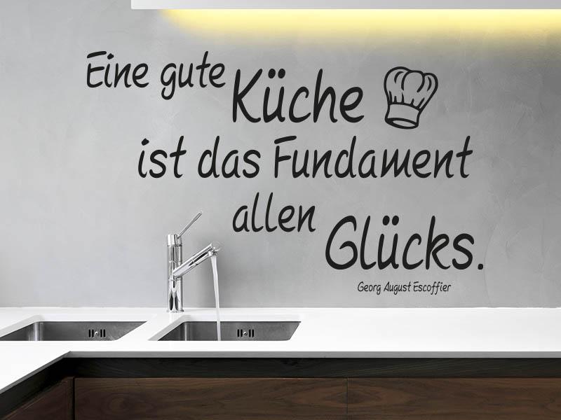 Eine gute Küche ist das Fundament allen Glücks Wandtattoo Zitat Küche