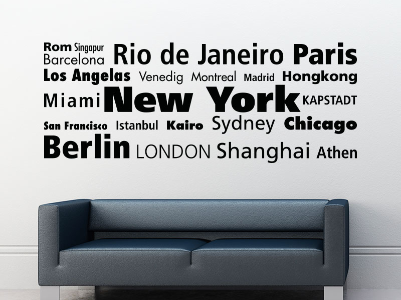 Wandtattoo Metropolen der Welt