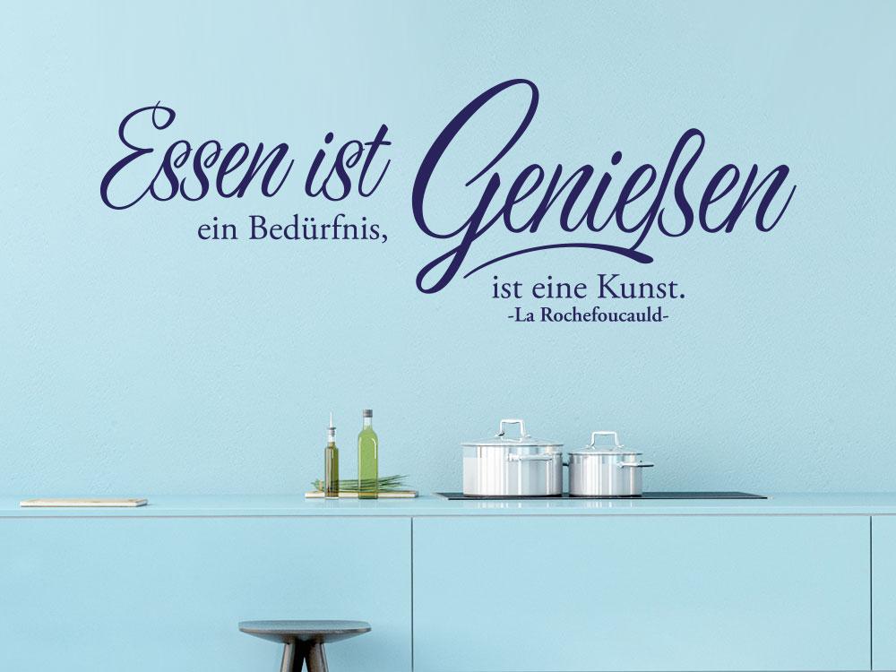 Wandtattoo Essen ist Genießen... auf blauer Wand in Küche