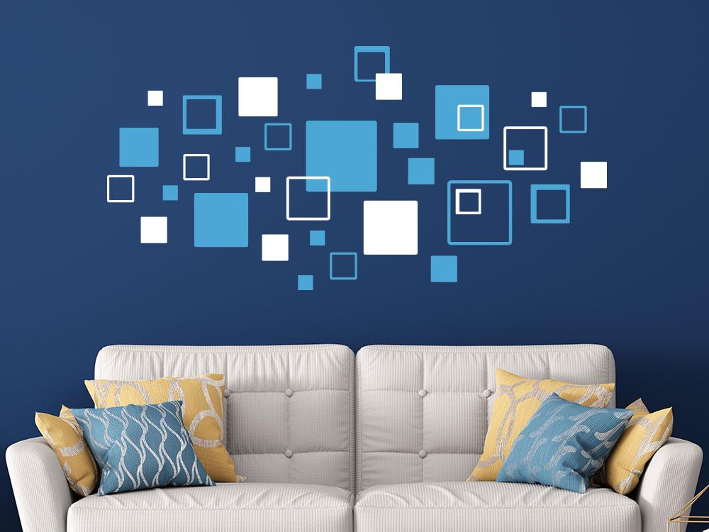 Mehrfarbiges Wandtattoo Quadrate Mix über Sofa