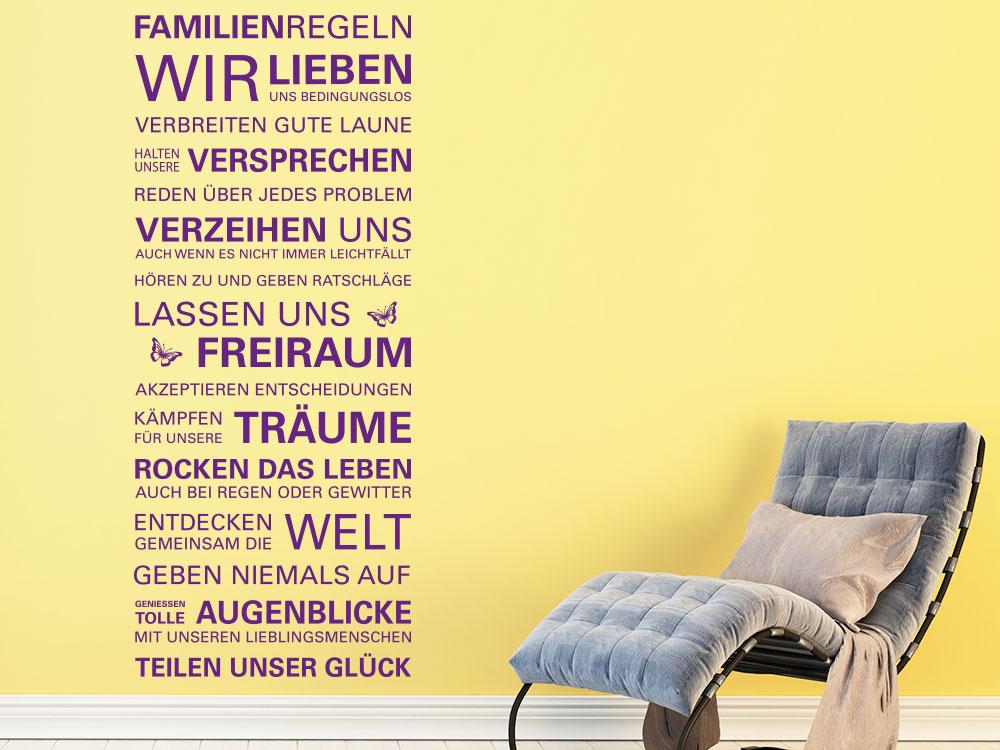 Wandtattoo Familienregeln im Wohnzimmer