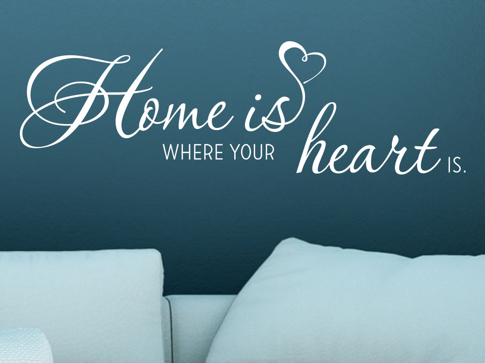 Wandtattoo Home is where your heart is Wohnzimmer in Weiß