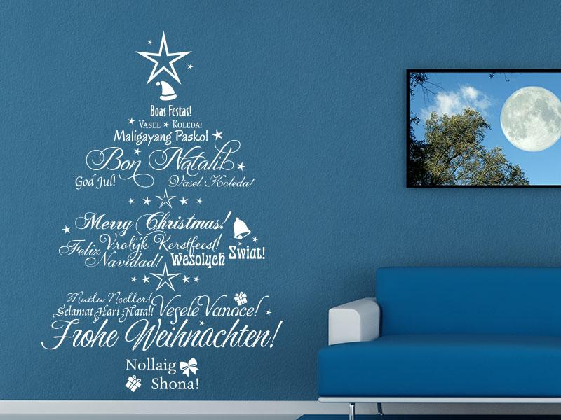Wandtattoo Mehrsprachiger Weihnachtsbaum