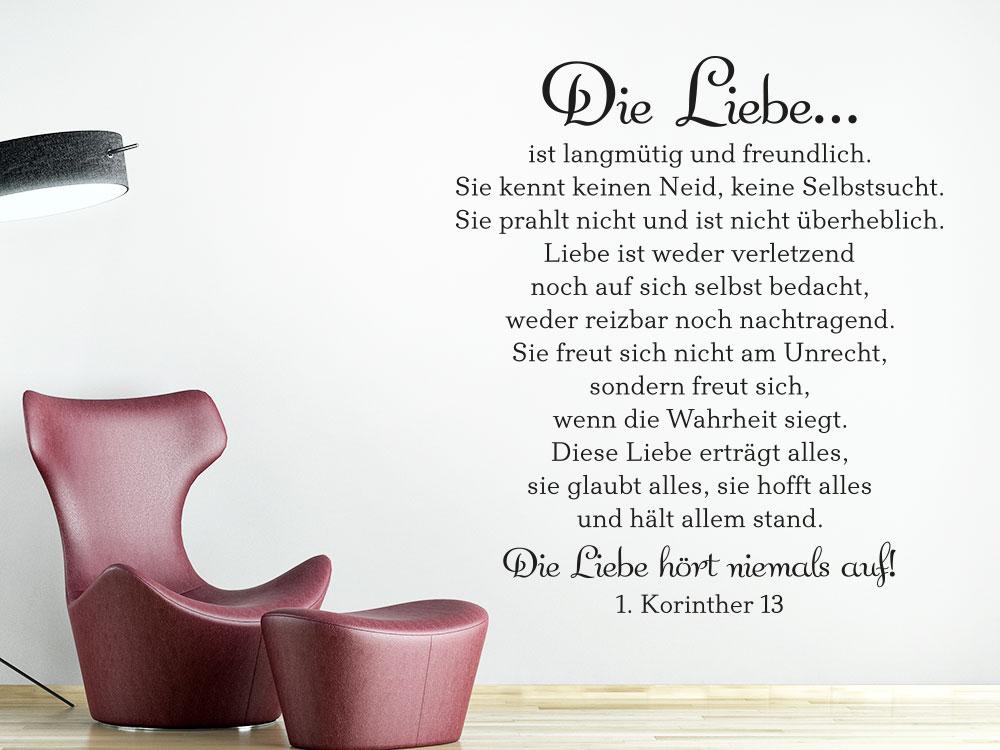 Wandtattoo Die Liebe ist langmütig und freundlich... - 1. Korinther 13