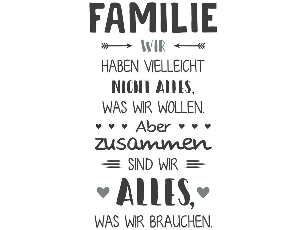 Wandtattoo Familie Zusammen sind wir - Gesamtansicht