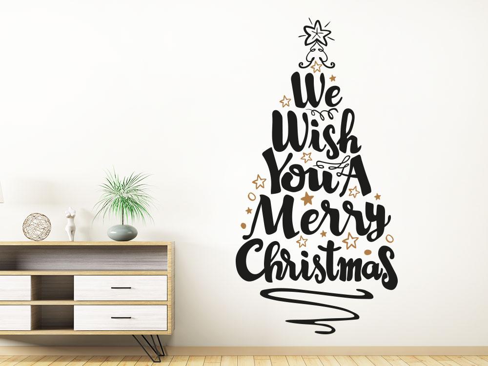 Wandtattoo Merry Christmas Weihnachtsbaum zweifarbig