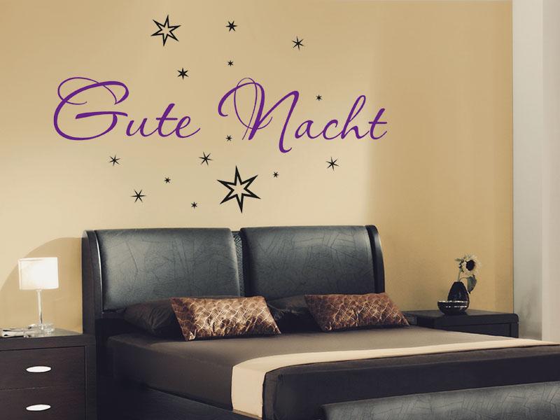 Wandtattoo Gute Nacht mit Sternenhimmel
