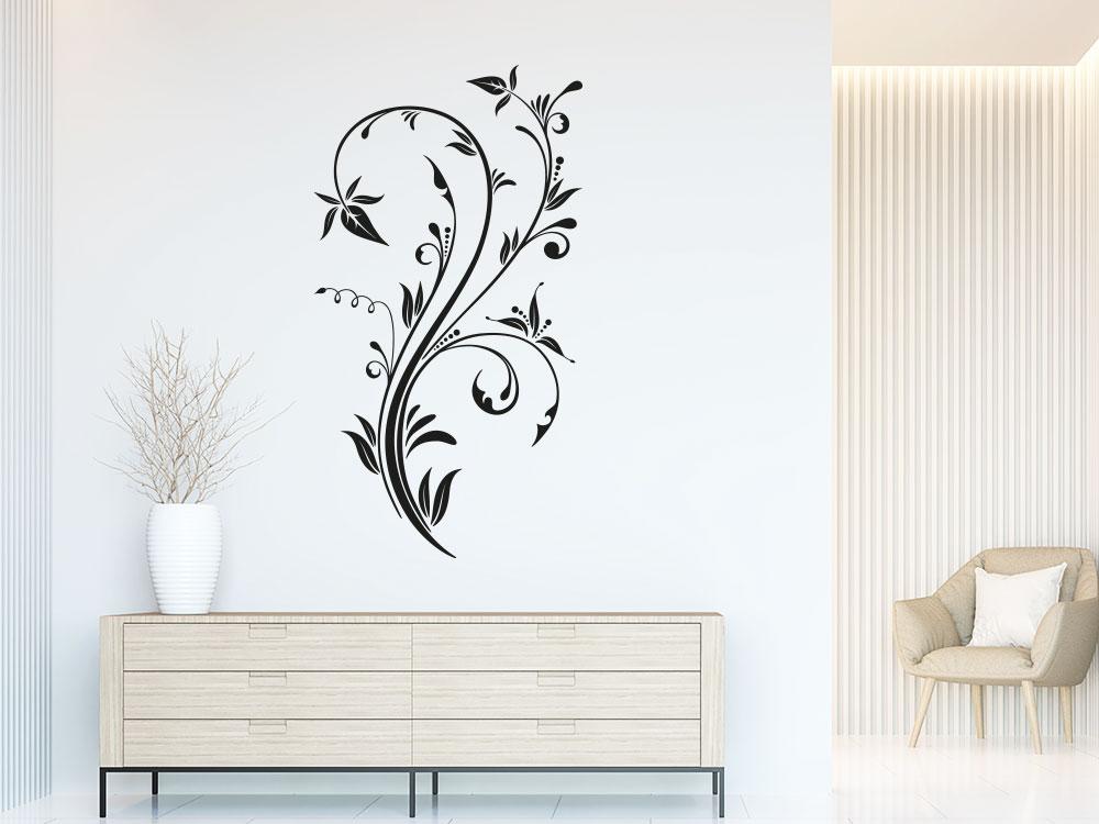 Kunstvolles Wandtattoo Zierornament  im Flur in der Farbe Schwarz