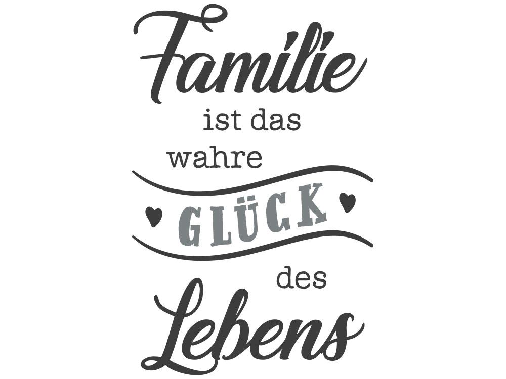Motiv Familie ist das wahre Glück des Lebens im Wohnzimmer - Gesamtansicht des Wandtattoos