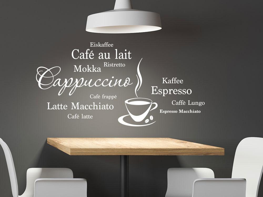 Wandtattoo Kaffee Wortwolke mit Kaffeetasse und Kaffeebohnen