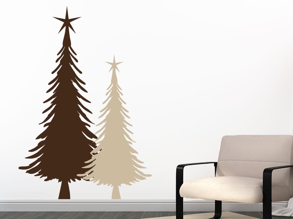 Wandtattoo Weihnachtstannen mit Stern im Wohnzimmer