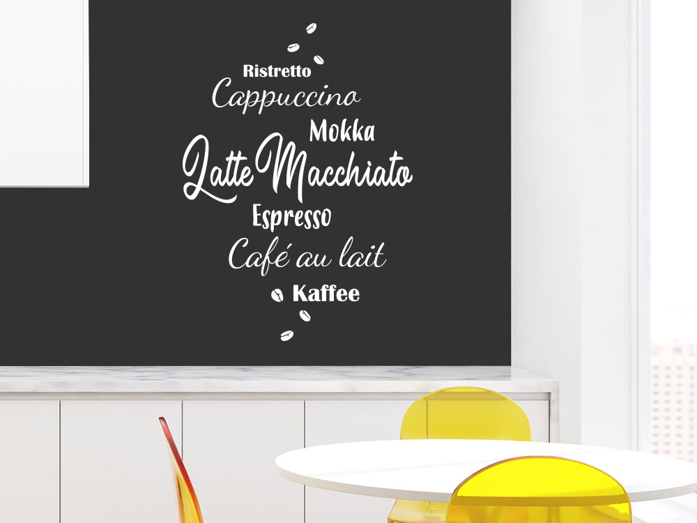Wandtattoo Kaffee Sorten mit Kaffeebohnen
