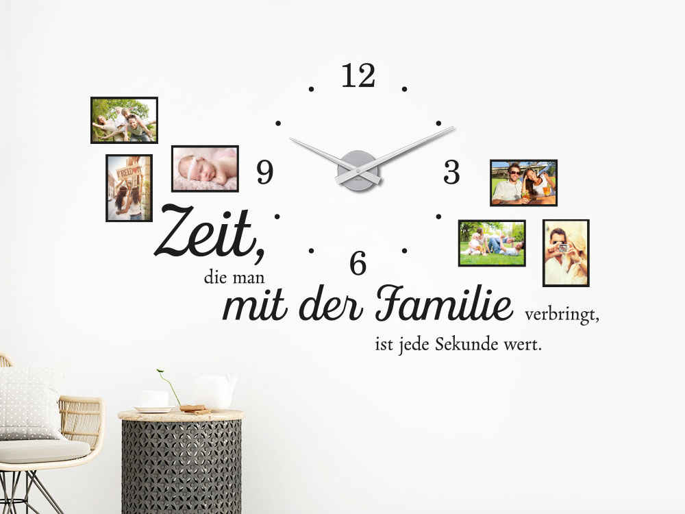 wandtattoo uhr familienzeit mit fotorahmen von klebeheld de. Black Bedroom Furniture Sets. Home Design Ideas