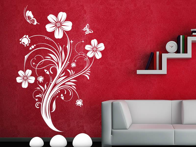 Wandtattoo Zauberhafte Blütenranke