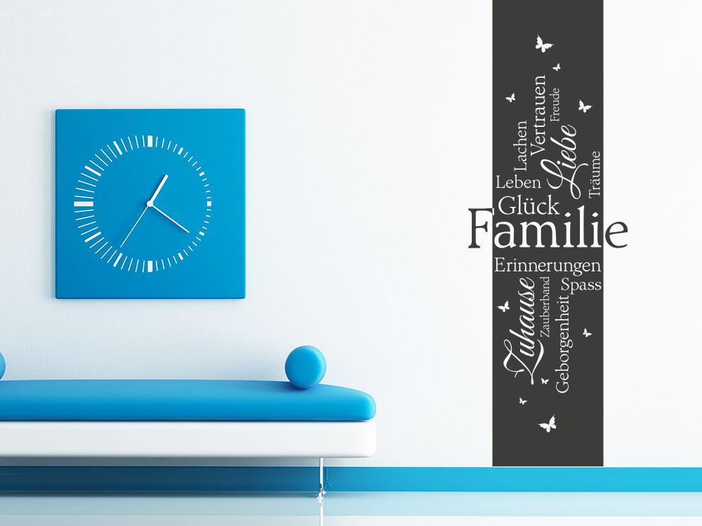 Wandtattoo Familie Banner auf heller Wand