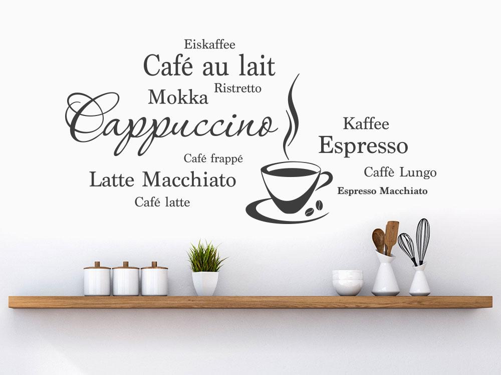 Wandtattoo Wortwolke Kaffee