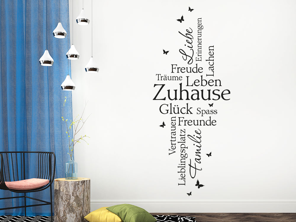 Wandtattoo Zuhause Schriften auf heller Wandfarbe
