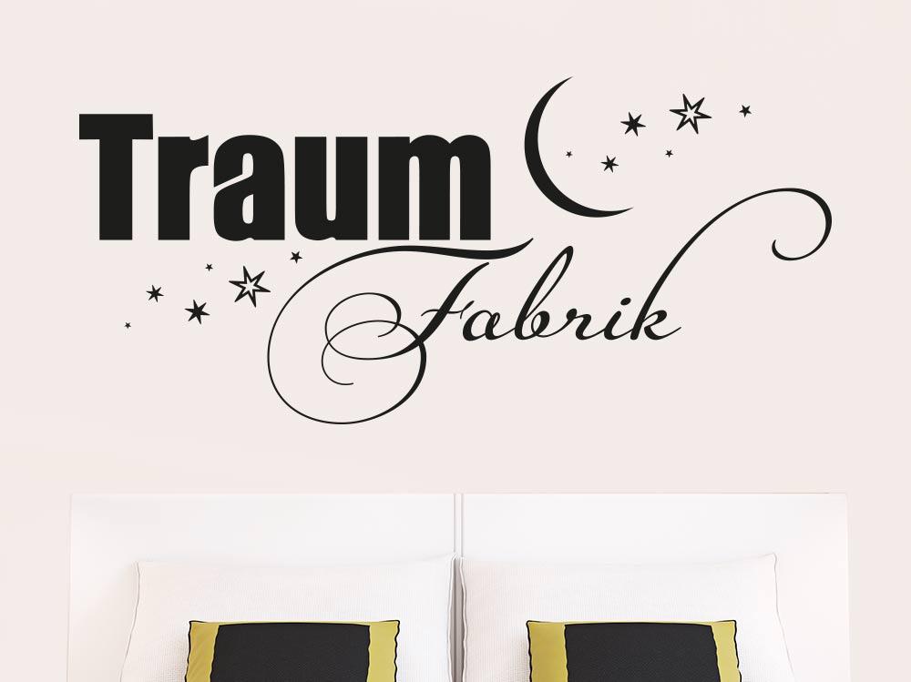 Wandtattoo Traumfabrik schwarz im Schlafzimmer