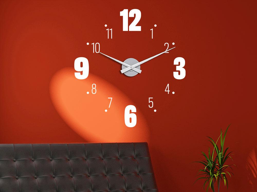 Wandtattoo Uhr große und kleine Zahlen