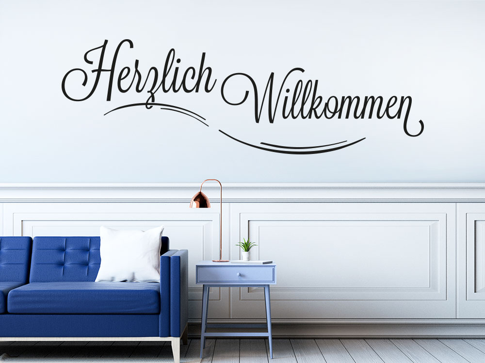 Stylisches Wandtattoo Herzlich Willkommen KLEBEHELD DE